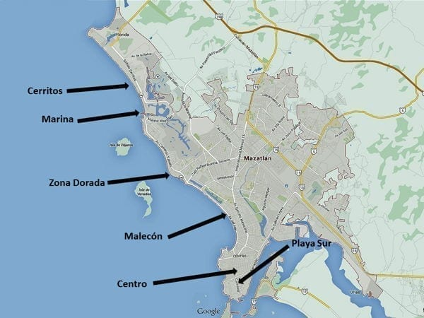 map showing mazatlan in mexico and the area around it