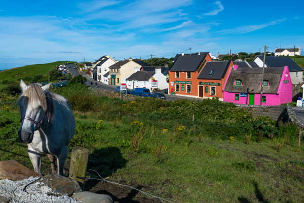 colorful houses irish village doolin