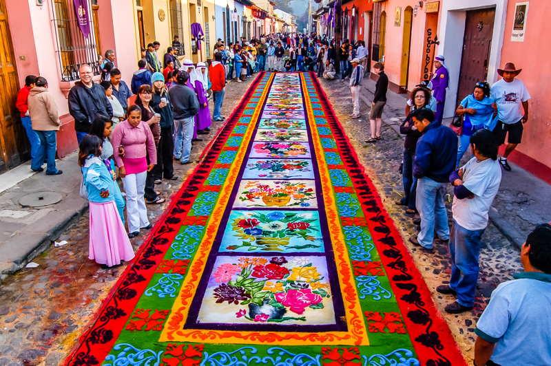 semana santa in guatemala flowers on the street