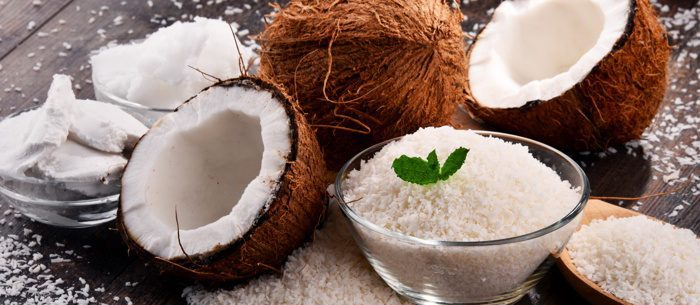 Bowl of shredded coconut and shells