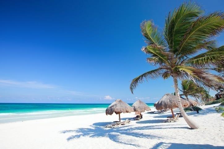 Beautiful Caribbean beach in Tulum Mexico