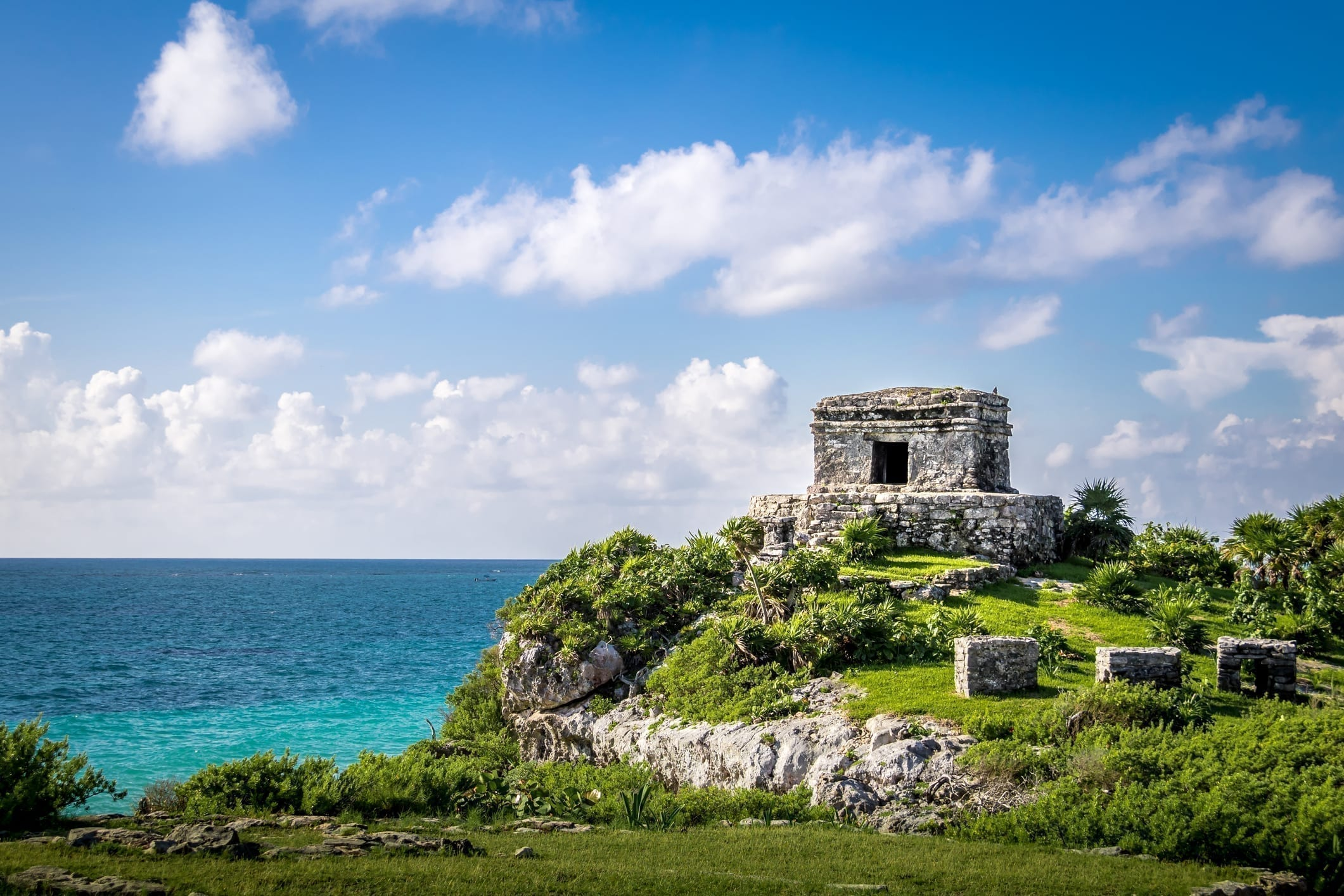 Temple and Caribbean sea - Mayan Ruins of Tulum, Mexico