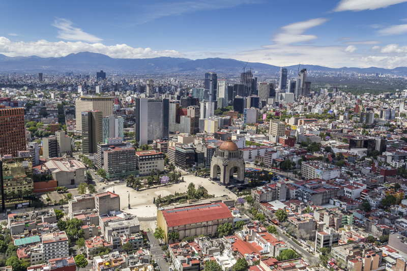 aerial view of downtown mexico city