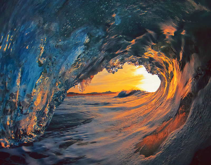 surfing waves sunset mexico