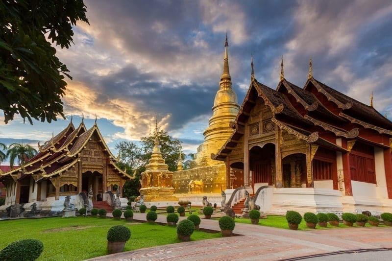 Wat Phra Singh at sunset, the most revered temple in Chiang Mai, Thailand.