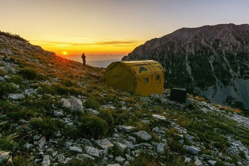 Mountain Shelter of Majella National Park during night time. Rifugio Fusco