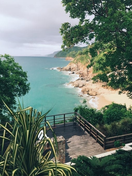 hidden beach cove, coastal mexico