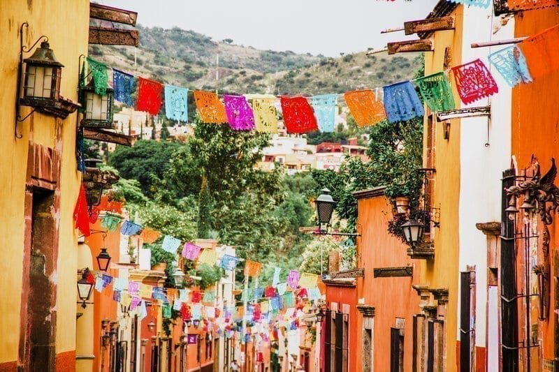 Traditional decorations in streets in Mexico
