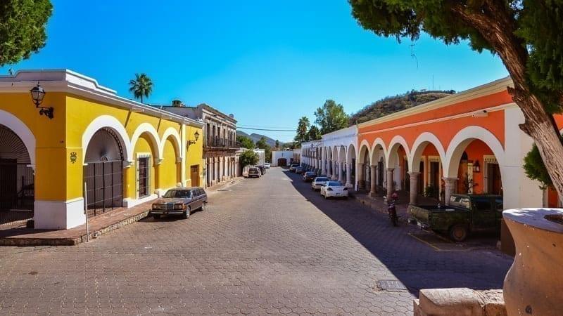 Cobble-stoned street of Alamos, Mexico