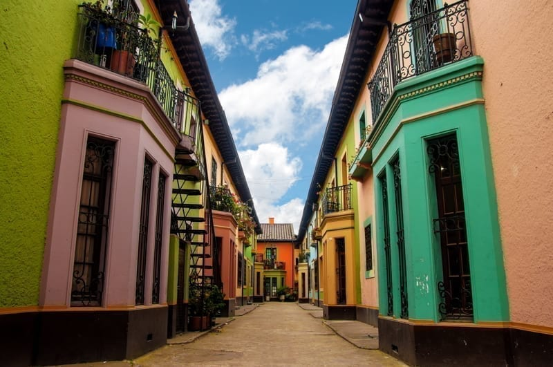 Bright colorful historic buildins in Los Martires neighborhood in Bogota, Colombia.
