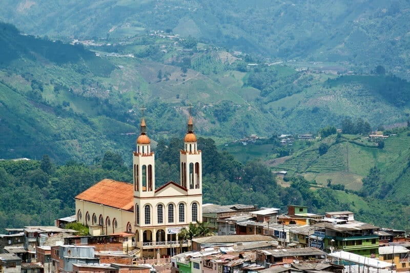 Manizales Church and Hills, Colombia