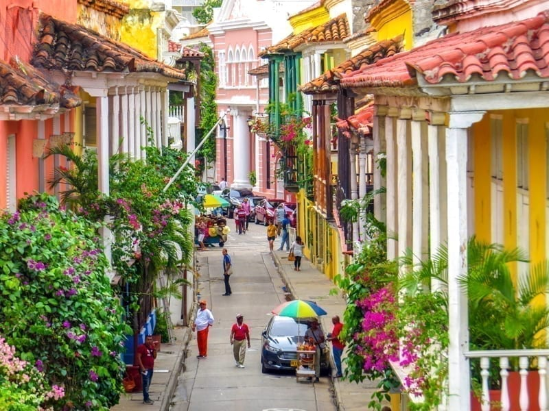 Street in walled city in Cartagena Colombia.