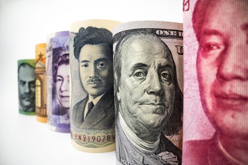 Macro shot of international paper money banknote.