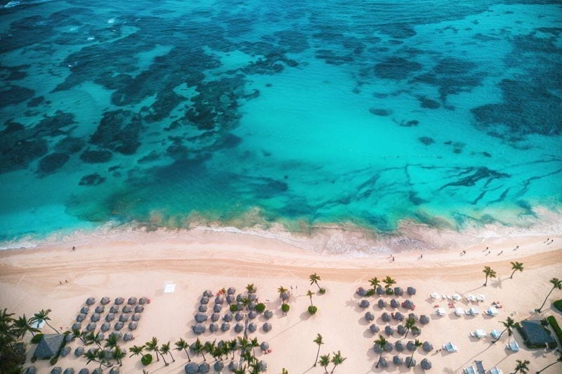 Aerial view of tropical island beach, Dominican Republic