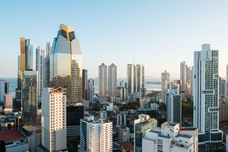 Modern skyscraper skyline aerial of Panama City downtown -