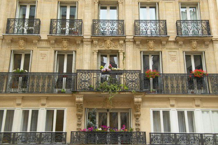 Balconies of Paris apartment building