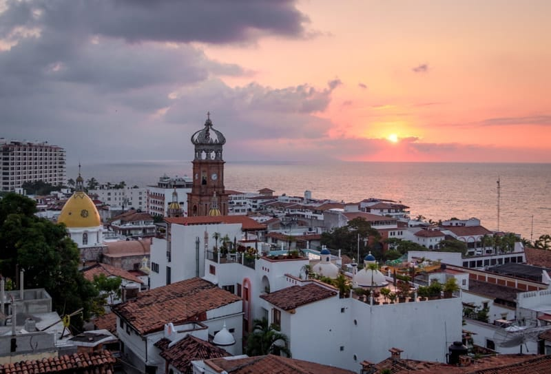 Aerial view of downtown Puerto Vallarta at sunset