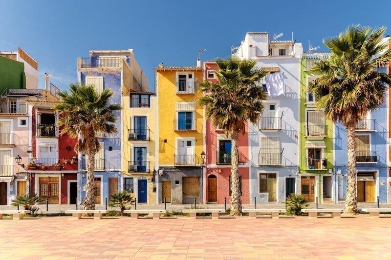 Colorful beach homes in Mediterranean Villajoyosa, Southern Spain