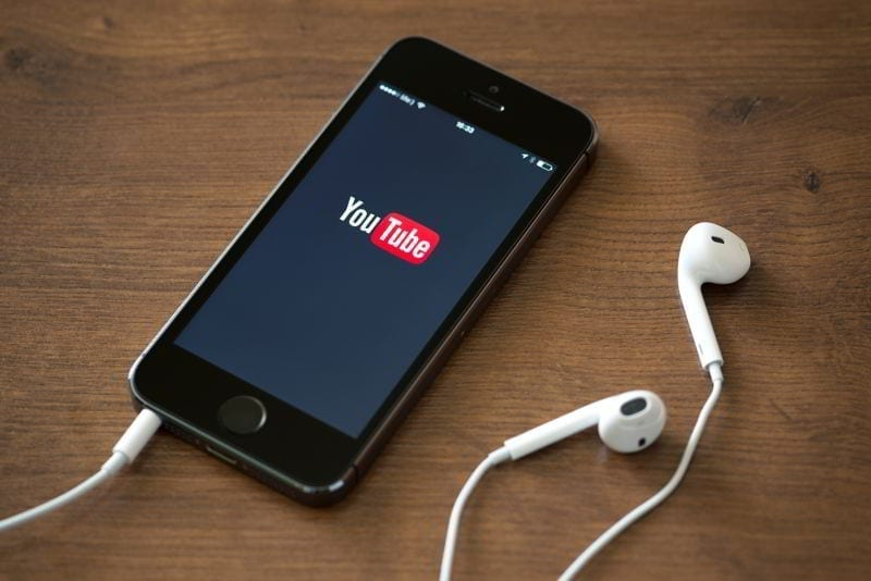 Apple iPhone 5S with YouTube application.