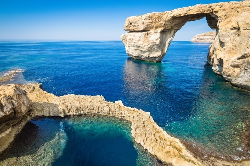 The world famous Azure Window in Gozo island, Malta