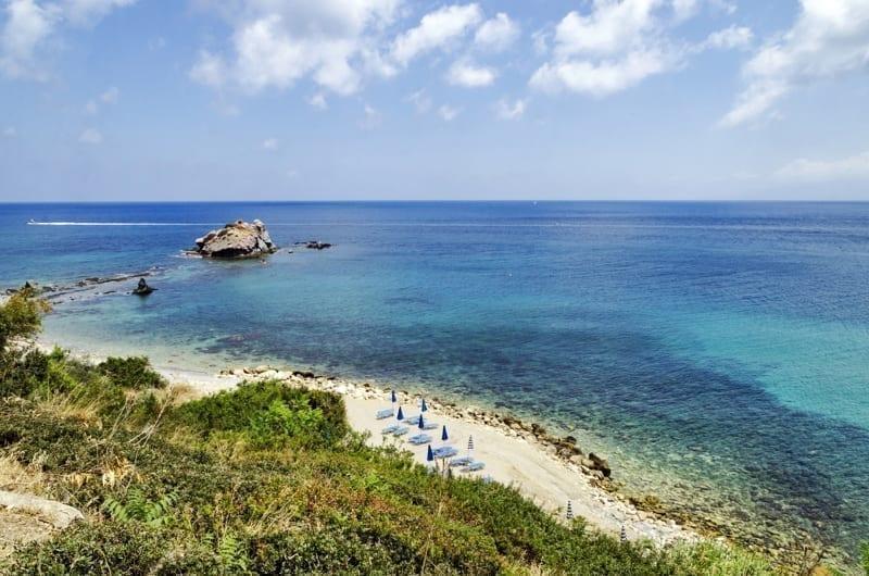 Beach near Aphrodite bath in Polis, Cyprus.