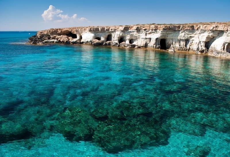 Sea caves near Cape Greko, Cyprus.