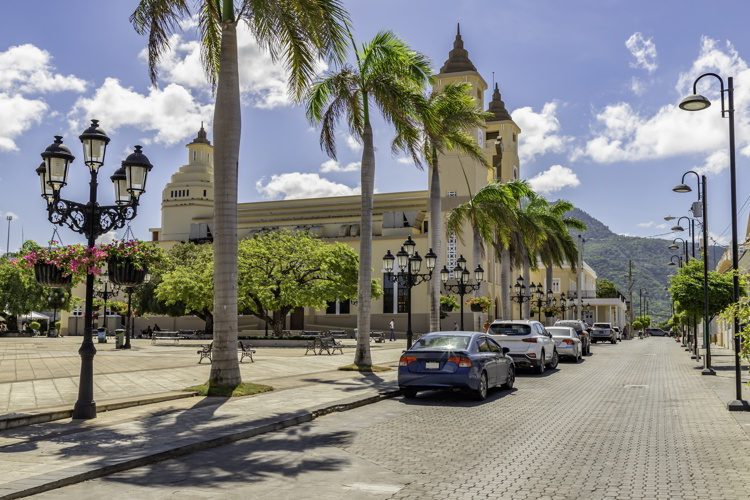 Caribbean old city street in Plata, Dominican Republic