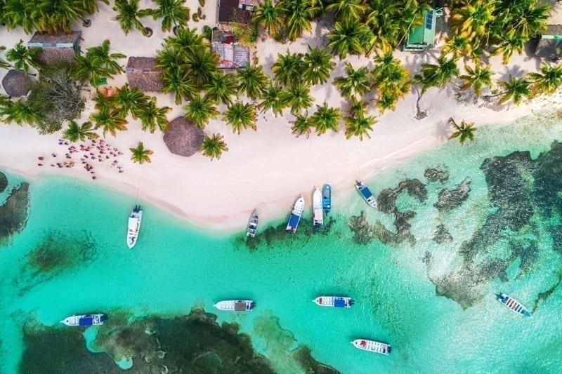 Aerial view of tropical beach. Saona island, Dominican Republic