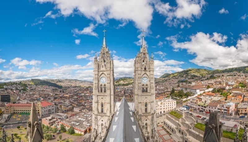 Basilica del Voto Nacional and downtown Quito in Ecuador