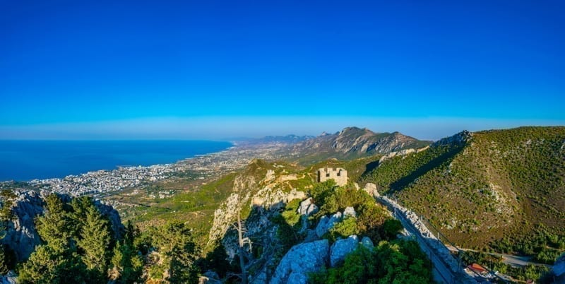 Ruins of St. Hilarion castle in the northern Cyprus.