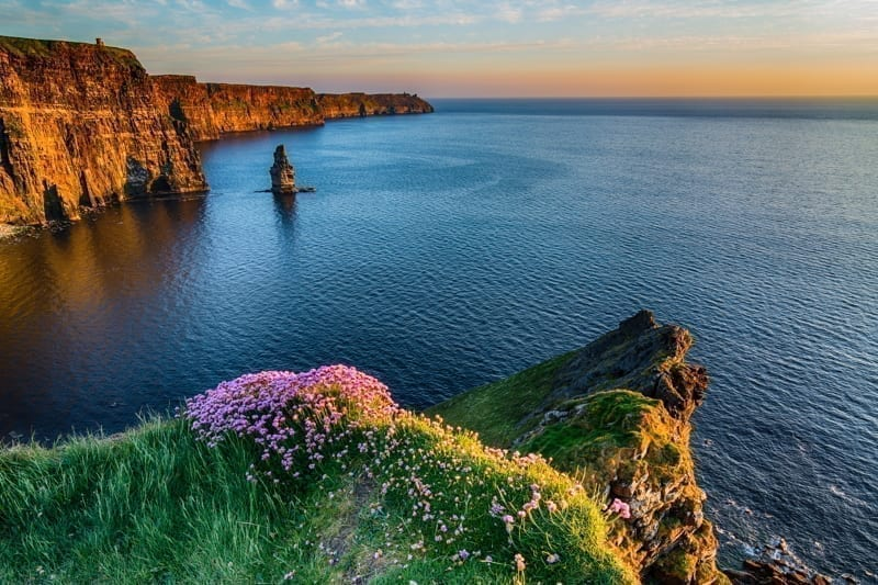 Ireland Irish world famous tourist attraction in County Clare. The Cliffs of Moher West coast of Ireland