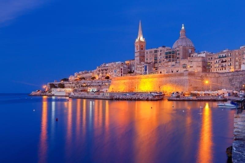 St. Paul's Cathedral in Valletta at sunset. Malta. Valletta