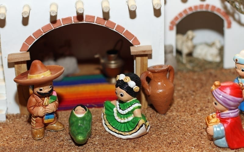 Mexican Hispanic Nativity with Joseph with a large sombrero