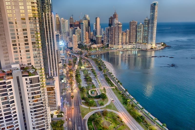 Panama City Skyline on summer night