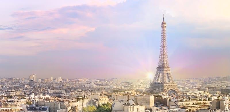 Sunset Eiffel tower and Paris city view form Triumph Arc.