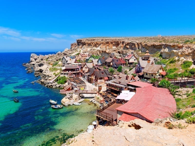 View of Popeye Village and Anchor Bay, Malta