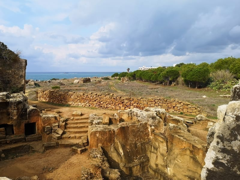 Tombs of the Kings, Mediterranean Sea and winter landscape of Cyprus