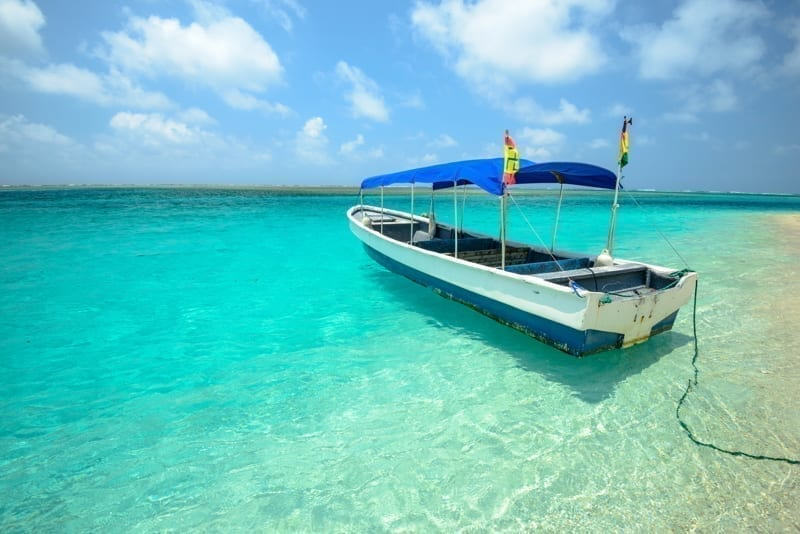 Boat to get to an island in San Blas, Panama