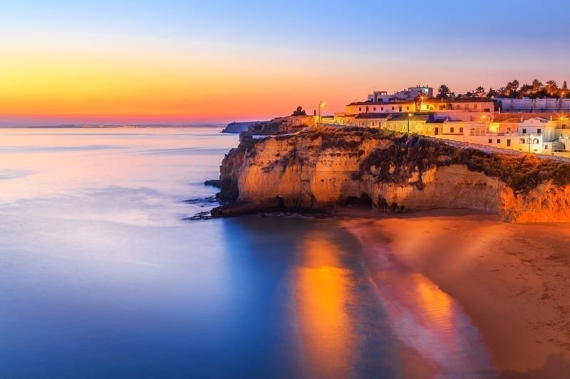 A panorama of Carvoeiro at the dusk in Algarve region, Portugal.
