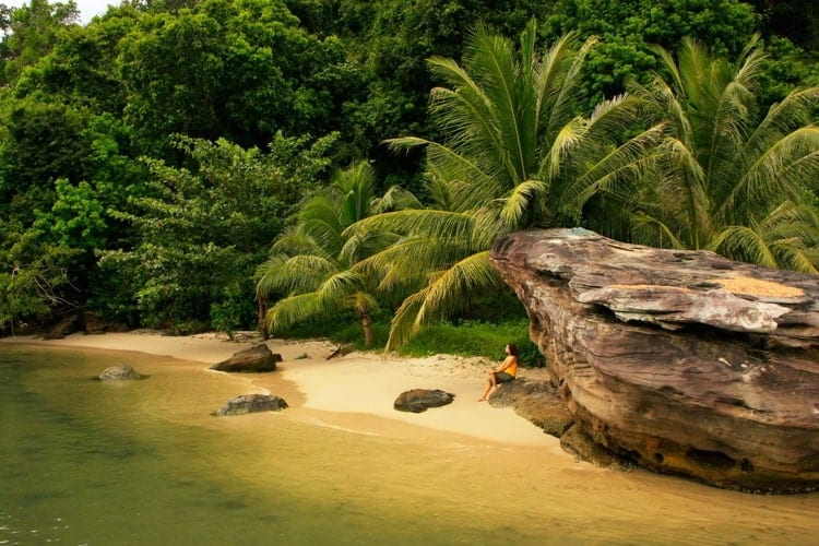 Small beach at Ream National Park, Cambodia, Southeast Asia.