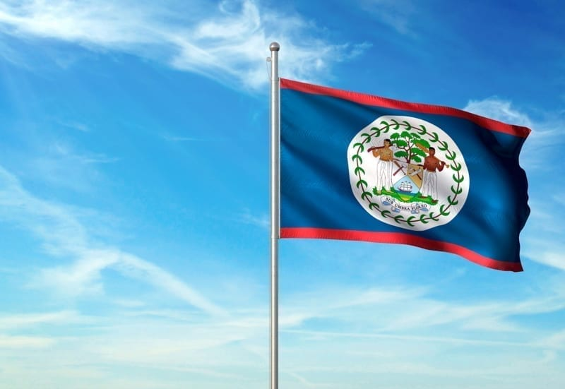 Belize flag on flagpole waving cloudy sky background.