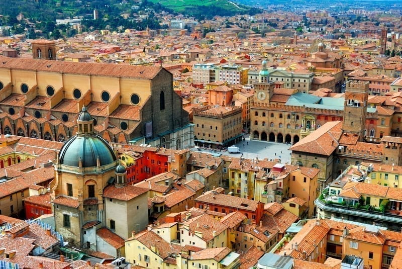 Gorgeous views of the Bologna, a historic capital in Italy.
