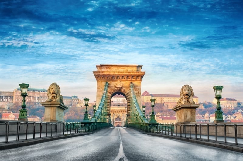 The magnificent Chain bridge in Budapest, Hungary with beautiful bright blue sky