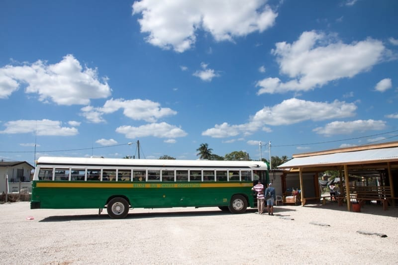 Bus station near Belize City in a sunny day