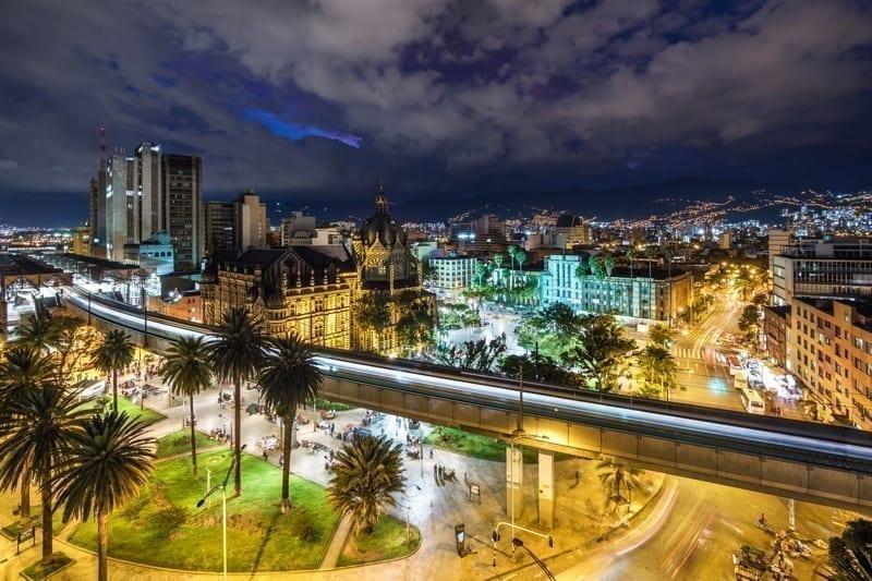 Plaza Botero square and downtown Medellin, Colombia.