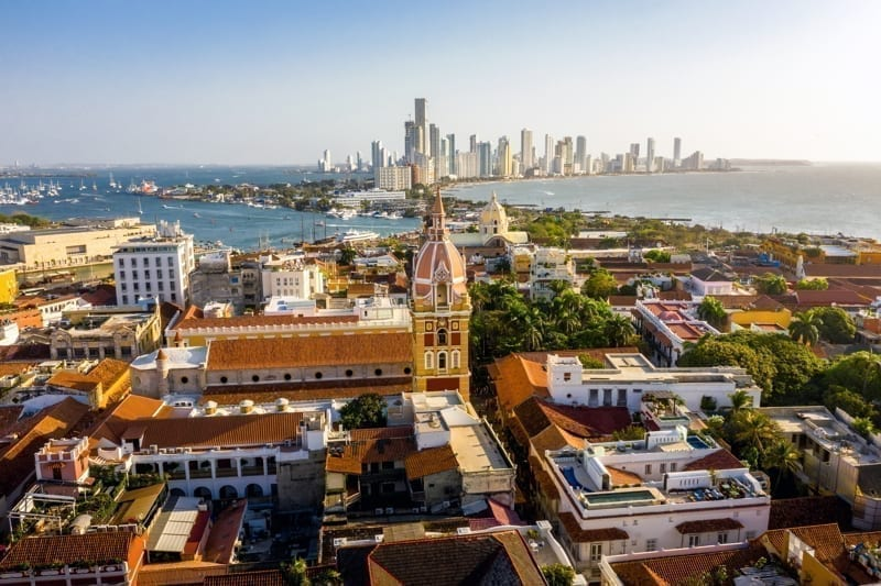 Aerial view of the historic city center of Cartagena, Colombia.