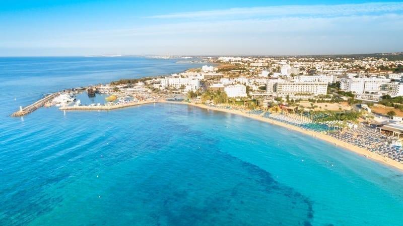 Aerial bird's eye view of Pantachou - Limanaki beach (Kaliva), Ayia Napa, Famagusta, Cyprus.