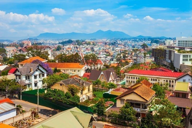 Wonderful Da Lat, a hill town in Vietnam. Colorful houses in Da Lat.