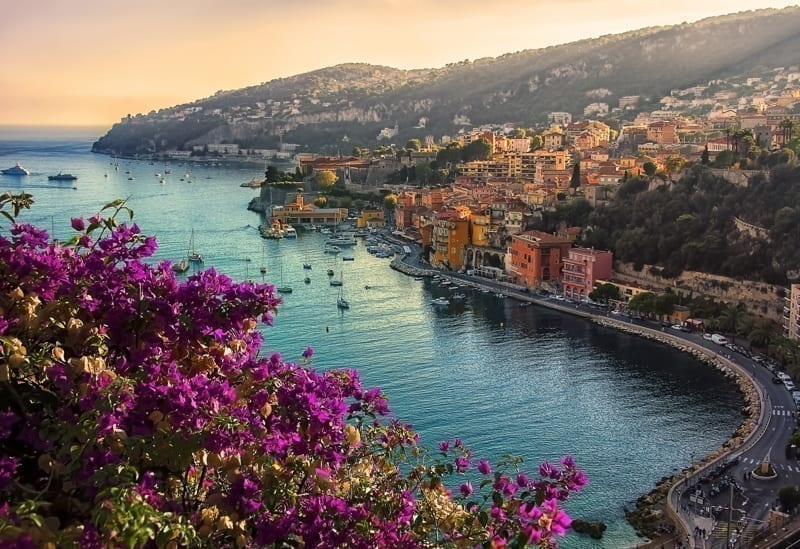 Beautiful coastline on the French Riviera with the small village at sunrise.