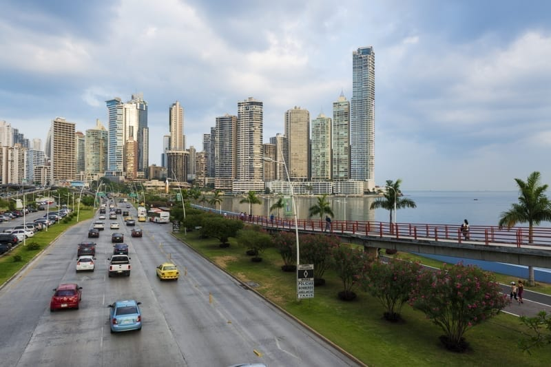 View of the financial district in Panama City, Panama.